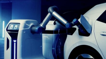 Volkswagen unveils visionary electric car-charging robot